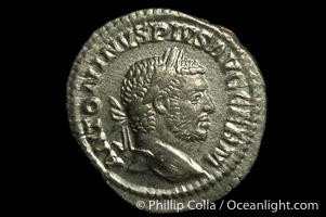 Roman emperor Caracalla (198-217 A.D.), depicted on ancient Roman coin (silver, denom/type: Denarius) (Denarius, EF. Obverse: ANTONINVS PIVS AVG GERM. Reverse: VENVS VICTRIX)