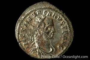 Roman emperor Carus (282-283 A.D.), depicted on ancient Roman coin (bronze, denom/type: Antoninianus) (Antoninianus RIC V-2 128P150; VIRTVS AVGG; Tripolis mint.)