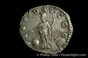 Roman emperor Clodius Albinus (193-197 A.D.), depicted on ancient Roman coin (silver, denom/type: Denarius)