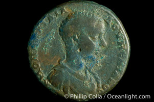 Image 06584, Roman emperor Diadumenian (217-218 A.D.), depicted on ancient Roman coin (bronze, denom/type: AE25) (AE 25 of Nicopolis in Moesia. Obverse: Draped and cuirassed bust right. Reverse: Tyche standing left, holds rudder and cornucopia. VG.).