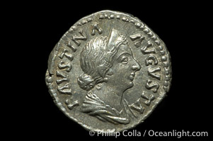 Roman emperor Faustina Junior (161-180 A.D.), depicted on ancient Roman coin (silver, denom/type: Denarius)
