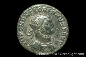 Roman emperor Florianus (276 A.D.), depicted on ancient Roman coin (bronze, denom/type: Antoninianus) (Antoninianus VF+; RIC 110 Serdica. Obverse: IMP CM AN FLORIANVS P AVG.. Reverse: PROVIDEN DEOR; gamma in exergue and star above.)