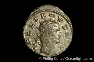 Roman emperor Gallienus (253-268 A.D.), depicted on ancient Roman coin (bronze, denom/type: Antoninianus) (Antoninianus VF. Obverse: GALLIENVS AVG. Reverse: PROVI AVG.)