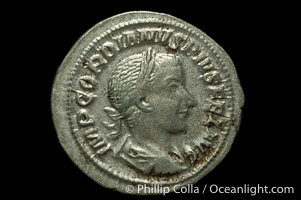 Roman emperor Gordian III (238-244 A.D.), depicted on ancient Roman coin (silver, denom/type: Antoninianus) (Ar. , Denarius 3.18g. RIC p. 24. Rare Coins of Third Issue, Pl. 2, 4.)