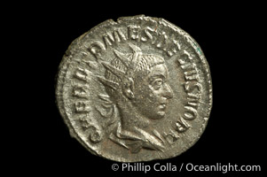 Roman emperor Herennius Etruscus (250-251 A.D.), depicted on ancient Roman coin (silver, denom/type: Antoninianus) (Antoninianus aVF/aF, RSC 26.)