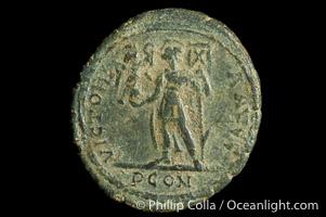 Roman emperor Magnus Maximus (383-388 A.D.), depicted on ancient Roman coin (bronze, denom/type: AE2)