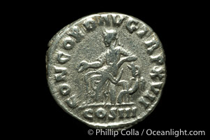 Roman emperor Marcus Aurelius (161-180 A.D.), depicted on ancient Roman coin (silver, denom/type: Denarius) (Denarius, VF, 3.2 g.. Obverse: IMP M ANTONINVS AVG. Reverse: CONCORD AVG IMP XVII, COX III exergue.)