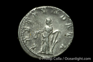 Roman emperor Philip I (244-249 A.D.), depicted on ancient Roman coin (silver, denom/type: Antoninianus) (Antoninianus EF/VF, Sea 2560. Obverse: IMP M IVL PHILIPPVS AVG. Reverse: LAET FVNDATA)