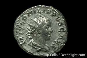Roman emperor Philip II (247-249 A.D.), depicted on ancient Roman coin (silver, denom/type: Antoninianus) (Antoninianus, 2.4g.)