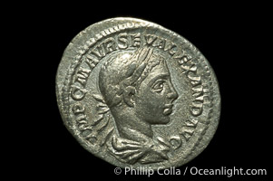 Roman emperor Severus Alexander (222-235 A.D.), depicted on ancient Roman coin (silver, denom/type: Denarius)