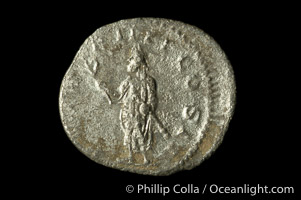 Roman emperor Volusian (251-253 A.D.), depicted on ancient Roman coin (silver, denom/type: Antoninianus) (Antoninianus VF. Obverse: IMP CA C VIB VOLUSIANUS AUG. Reverse: PM TRP IIII COS II)