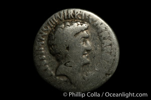 Roman emperors Marc Antony and Octavian (41 B.C.), depicted on ancient Roman coin (silver, denom/type: Denarius)