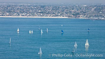 Sailboats and coastline near Redondo Beach. Redondo Beach, California, USA, natural history stock photograph, photo id 26035