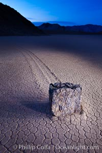 Sailing stone at dawn, Racetrack Playa, Death Valley National Park, California