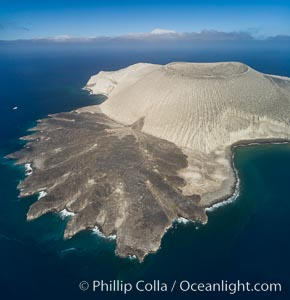 San Benedicto Island and Barcena crater, aerial photo, Revillagigedos Islands, Mexico. San Benedicto Island (Islas Revillagigedos), Baja California, Mexico, natural history stock photograph, photo id 32915