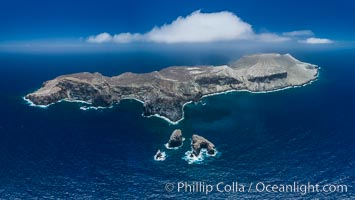 San Benedicto Island and Barcena crater, aerial photo, Revillagigedos Islands, Mexico. San Benedicto Island (Islas Revillagigedos), Baja California, Mexico, natural history stock photograph, photo id 32917