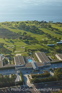 Torrey Pines Lodge and Torrey Pines Golf Course, with the Pacific Ocean in the distance, La Jolla, California