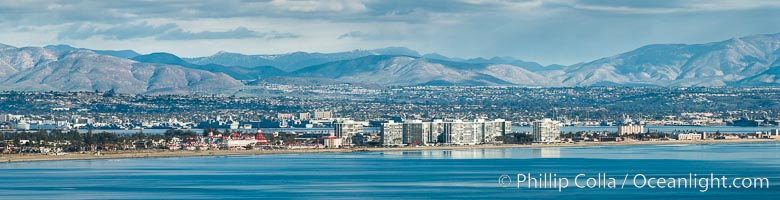 Hotel Del Coronado and Coronado Island City Skyline, viewed from Point Loma, panoramic photograph. San Diego, California, USA, natural history stock photograph, photo id 30202