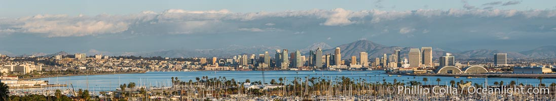 San Diego Bay and Skyline, viewed from Point Loma, panoramic photograph