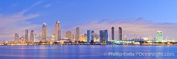 San Diego bay and skyline at sunrise, viewed from Coronado Island
