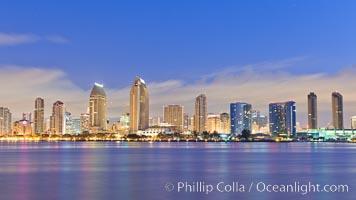 San Diego bay and skyline at sunrise, viewed from Coronado Island