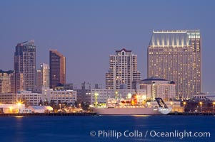 San Diego city skyline and cruise ship terminal at dusk, viewed from Harbor Island. San Diego, California, USA, natural history stock photograph, photo id 14536