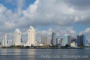 San Diego downtown waterfront skyline, viewed across San Diego Bay from Coronado Island