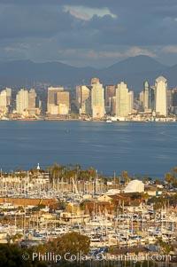 San Diego harbor skyline, late afternoon