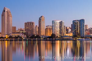 San Diego City Skyline at Sunrise. San Diego, California, USA, natural history stock photograph, photo id 28381