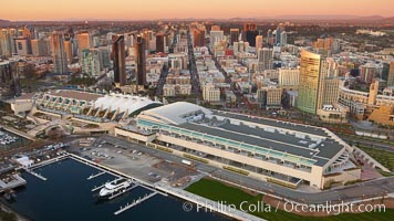 San Diego Convention Center, located in the Marina District of downtown San Diego.  Built in 1989, the San Diego Convention Center offers 525,700 square feet of exhibit space.  It is noted for its distinctive &#34;sails&#34; made of Teflon-coated fiberglass suspended over the central exhibition hall, aptly named Sails Pavilion