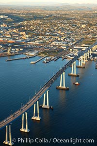 San Diego Coronado Bridge, known locally as the Coronado Bridge, links San Diego with Coronado, California.  The bridge was completed in 1969 and was a toll bridge until 2002.  It is 2.1 miles long and reaches a height of 200 feet above San Diego Bay