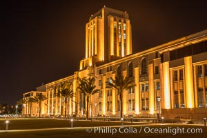 San Diego County Administration building at night