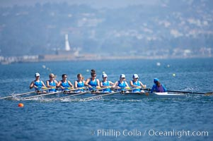 UCLA on their way to a third place finish in the women's JV final, 2007 San Diego Crew Classic, Mission Bay