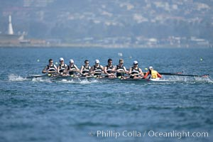 Oregon State en route to a second place finish in the men's JV final, 2007 San Diego Crew Classic, Mission Bay
