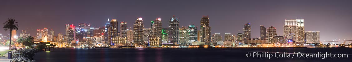 San Diego downtown city skyline at night, viewed from Harbor Island