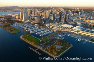 San Diego Embarcadero Marina Park, with yacht basin, San Diego Convention Center (right), Marriott (center) and Grand Hyatt (left) hotels