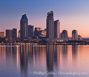 San Diego downtown city skyline and waterfront, sunrise, dawn, viewed from Coronado Island. San Diego, California, USA, natural history stock photograph, photo id 27093