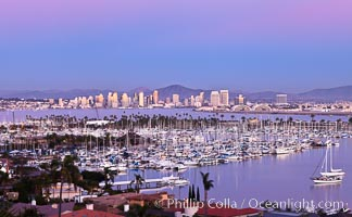 San Diego harbor and skyline, viewed at sunset. San Diego, California, USA, natural history stock photograph, photo id 27147