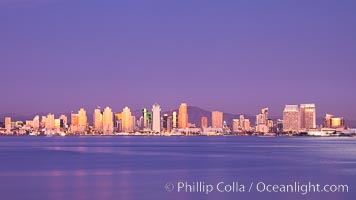 San Diego harbor and skyline, viewed at sunset. San Diego, California, USA, natural history stock photograph, photo id 27149