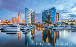 San Diego Marriott Hotel and Marina, and Manchester Grand Hyatt Hotel (left) viewed from the San Diego Embarcadero Marine Park, sunrise