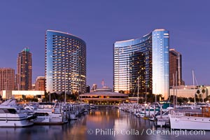 San Diego Marriott Hotel and Marina, viewed from the San Diego Embarcadero Marine Park