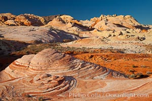 Sandstone domes and formations at sunrise. Valley of Fire State Park, Nevada, USA, natural history stock photograph, photo id 26484