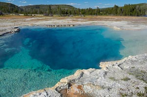 Sapphire Pool, Biscuit Basin.  Sapphire Pool is known as a hot spring but has erupted as a geyser in the past, Yellowstone National Park, Wyoming