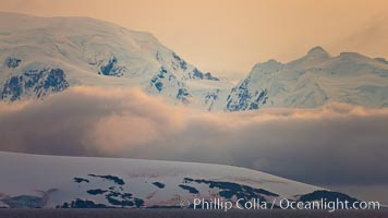 Scenery in Gerlache Strai.  Clouds, mountains, snow, and ocean, at sunset in the Gerlache Strait, Antarctica. Gerlache Strait, Antarctic Peninsula, Antarctica, natural history stock photograph, photo id 25680