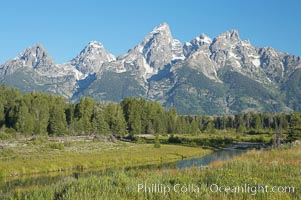 The Teton Range viewed from Schwabacher Landing. Schwabacher Landing, Grand Teton National Park, Wyoming, USA