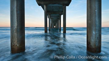 Scripps Pier, predawn abstract study of pier pilings and moving water. Scripps Institution of Oceanography, La Jolla, California, USA, natural history stock photograph, photo id 26457
