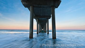 Scripps Pier, predawn abstract study of pier pilings and moving water, Scripps Institution of Oceanography, La Jolla, California