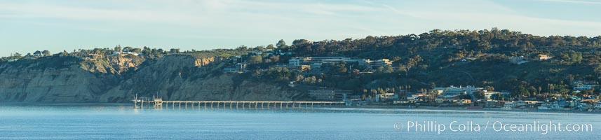 Scripps Pier and Scripps Institute of Oceanography, viewed from Point La Jolla, sunrise, Scripps Institution of Oceanography