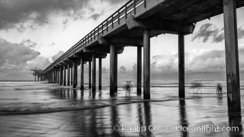 Scripps Pier and moving water, pre-dawn light, La Jolla. La Jolla, California, USA, natural history stock photograph, photo id 30178