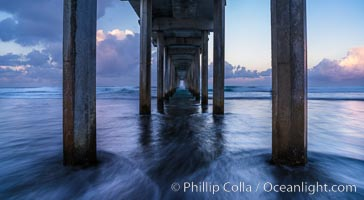 Scripps Pier and moving water, pre-dawn light, La Jolla